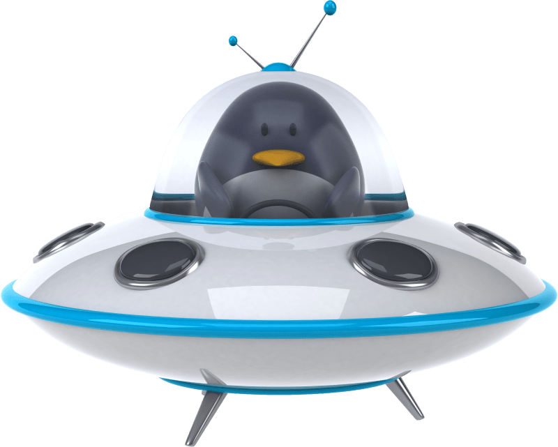 Image of penguin in a spaceship